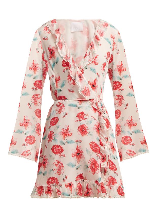 Athena Procopiou Floral-print Silk Wrap Dress In Pink Multi