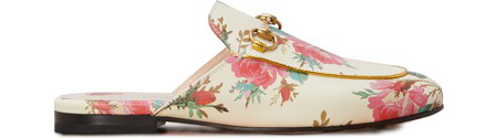 Gucci Slipper Princetown Leather Beige Roses Print Horsebit-Detail In White