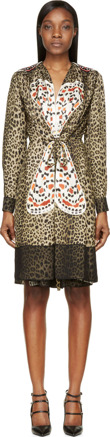 Givenchy Leopard-print Silk Dress With Butterfly AppliquÉ In Multicolor