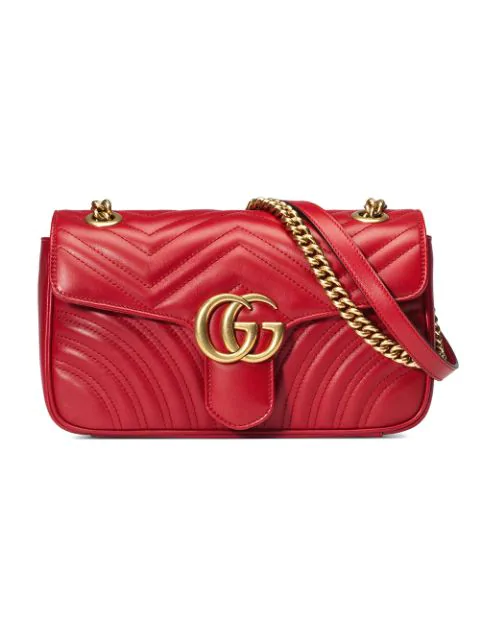 Gucci Red Gg Marmont Small Leather MatelassÉ Shoulder Bag
