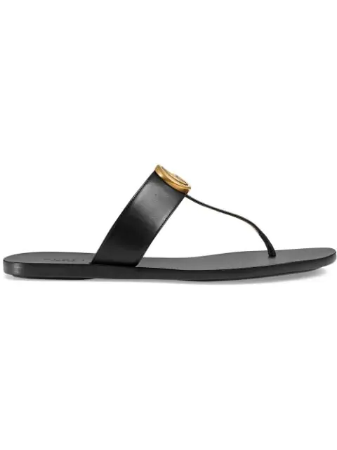 Gucci Leather Thong Sandals With Double G In Black