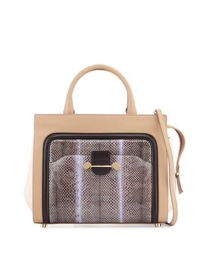 Jason Wu Daphne Watersnake & Leather Crossbody Tote Bag, Birch