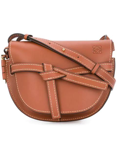 Loewe Gate Mini Textured-leather Shoulder Bag In Brown