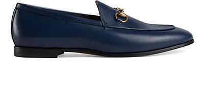 Gucci 10Mm Jordaan Horsebit Leather Loafers In Navy