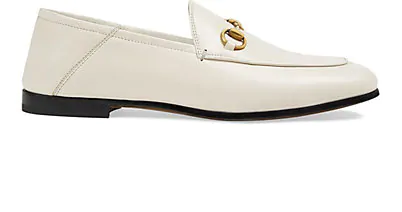 Gucci Brixton Horsebit-Detailed Leather Collapsible-Heel Loafers In White