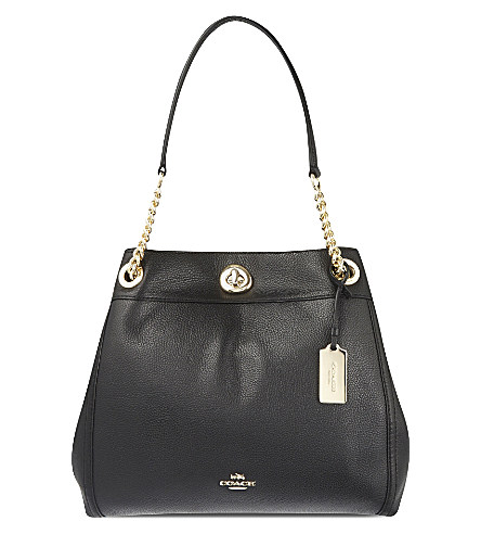 e5aecffbadc9 Coach Turnlock Edie Shoulder Bag In Pebble Leather In Black