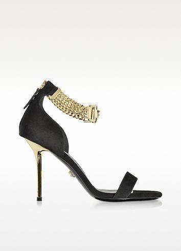 Versace Embellished Black Suede Ankle Strap Sandals