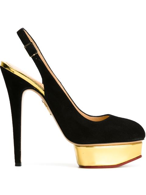 Charlotte Olympia Dolly Suede Sling-backs In Black