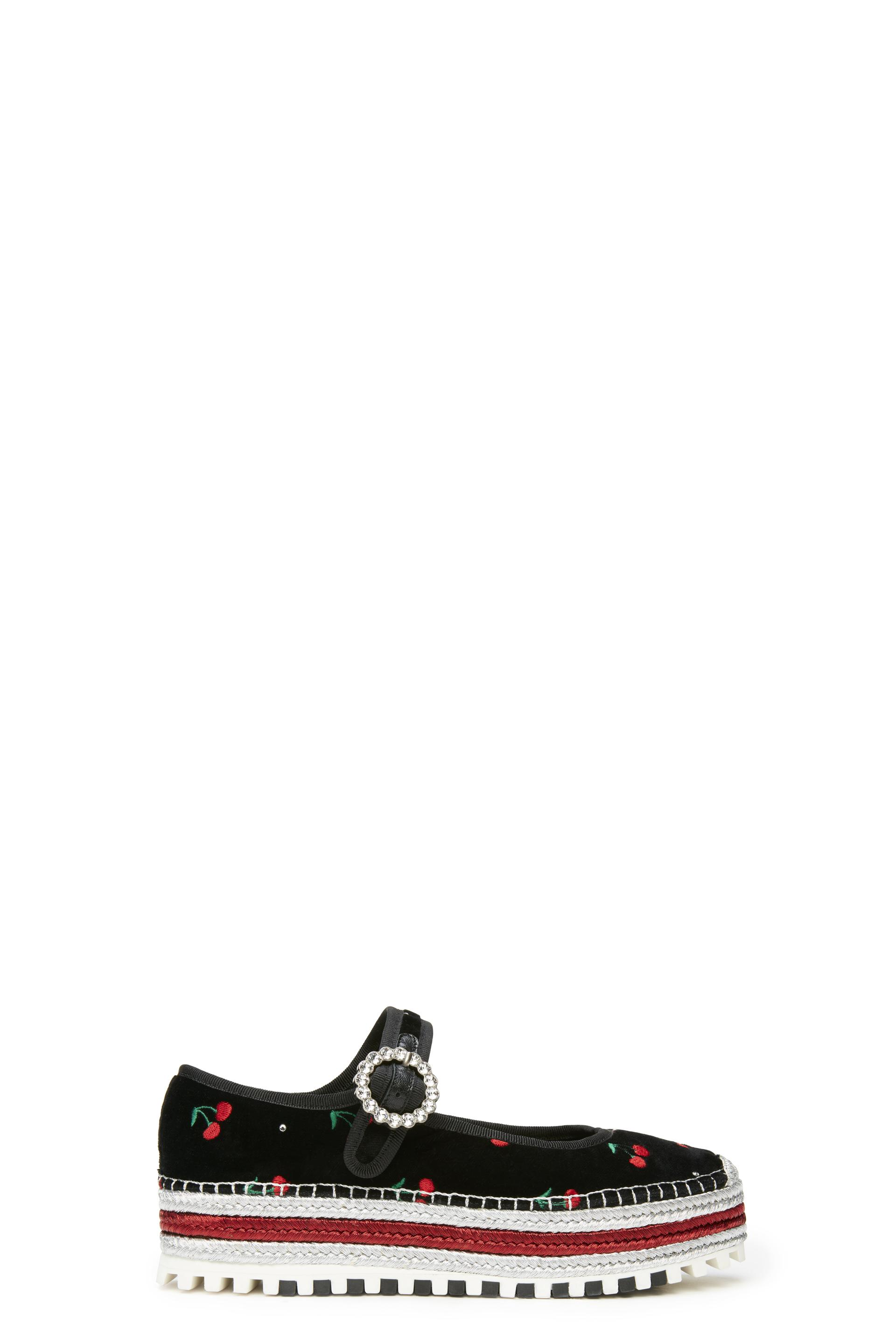 cbdf2af18cf Marc By Marc Jacobs Suzi Cherry-Embroidered Velvet Espadrille Mary Janes In  Black