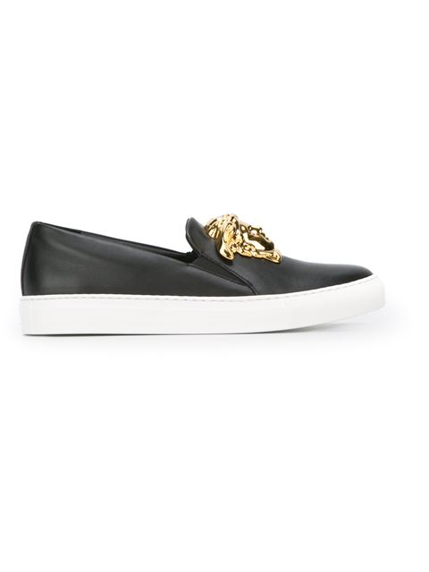 2c80e5c35 Versace Black Leather Medusa Slip-On Sneakers In D41Oc Black | ModeSens