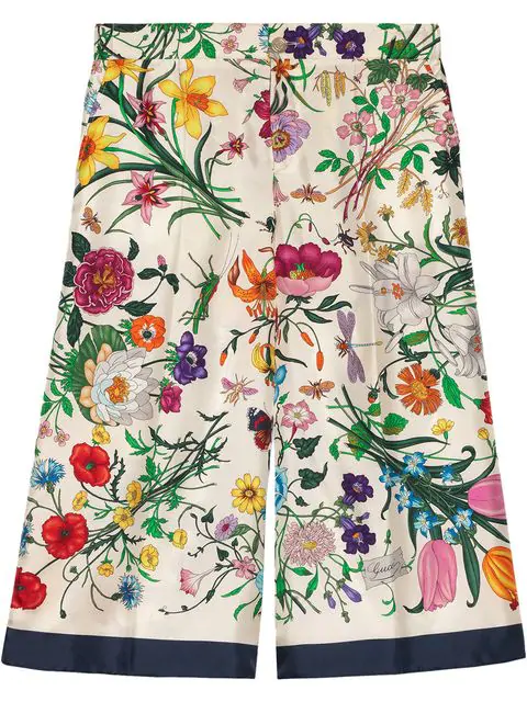 Gucci Floral-Print Silk Twill Cropped Pajama Culottes In 4884 Ivory
