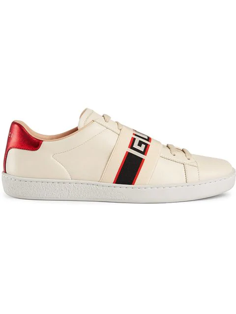 Gucci Ace Jacquard-trimmed Logo-embossed Leather Sneakers In 9086 White