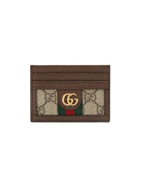 Gucci Ophidia Gg Plaque Leather Cardholder In Neutrals