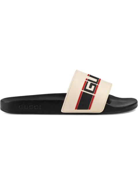Gucci Stripe Rubber Slide Sandals In Cream In White