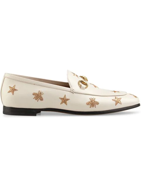 Gucci Women's Jordaan Embroidered Leather Loafers In 9022 White