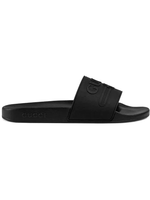 Gucci Pursuit Logo-embossed Slides In Black