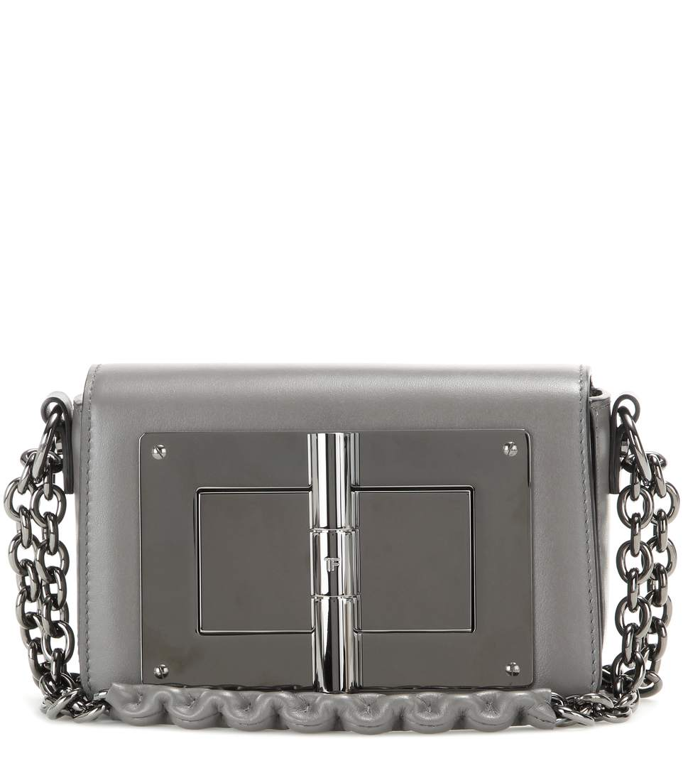 Tom Ford Natalia Small Leather Shoulder Bag In Grey