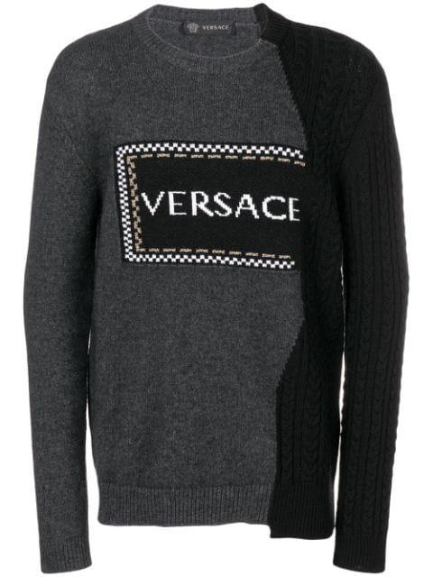 Versace Logo-Intarsia Wool-Blend Sweater In Grey