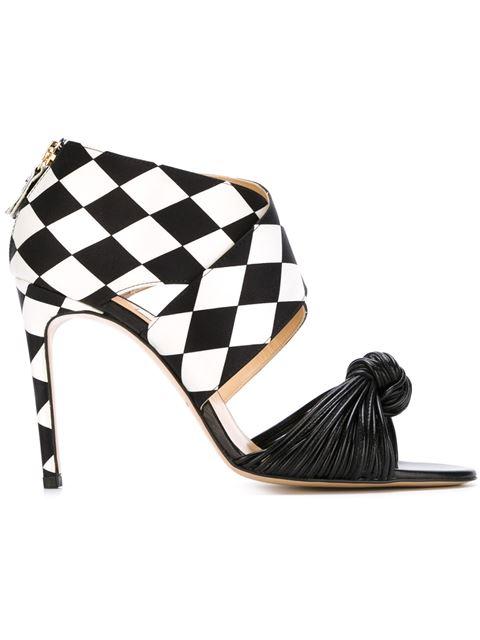 Bionda Castana Gabriella Printed Satin And Leather Sandals In Black