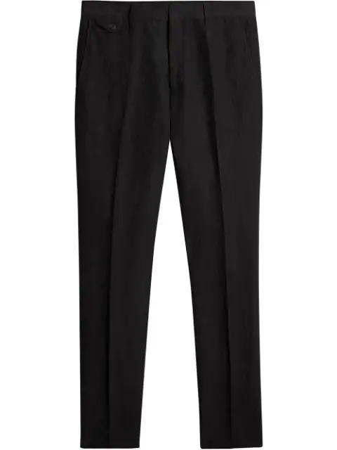 Burberry Classic Fit Mohair Linen Silk Tailored Trousers In Black