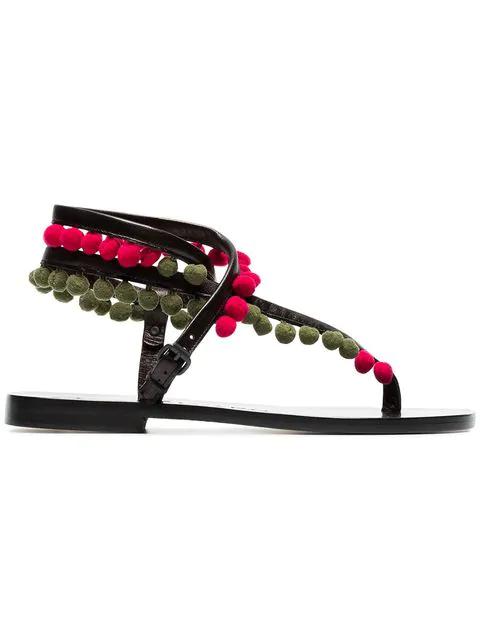 ÁLvaro GonzÁLez ÁLvaro Green Androna Pom Pom Leather Sandals In Black