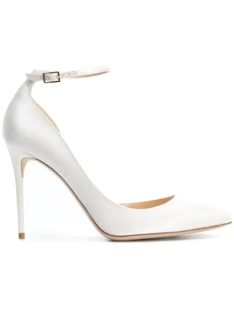 Jimmy Choo Lucy 100 Ivory Satin Pointy Toe Pumps In White
