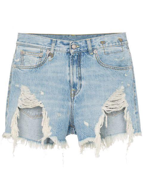 R13 Shredded Slouch Distressed Denim Shorts In Rutland Pai