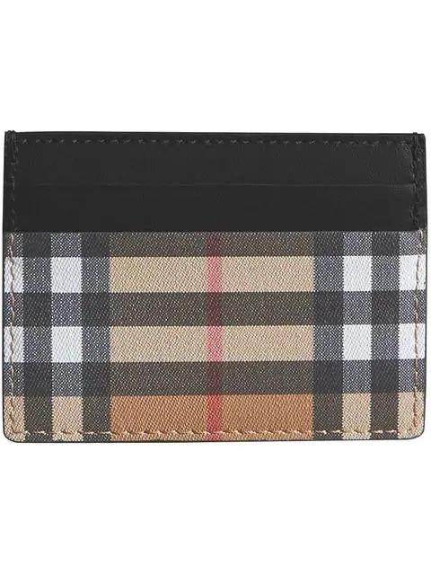 Burberry Men's Genuine Leather Credit Card Case Holder Wallet Sandon In Black