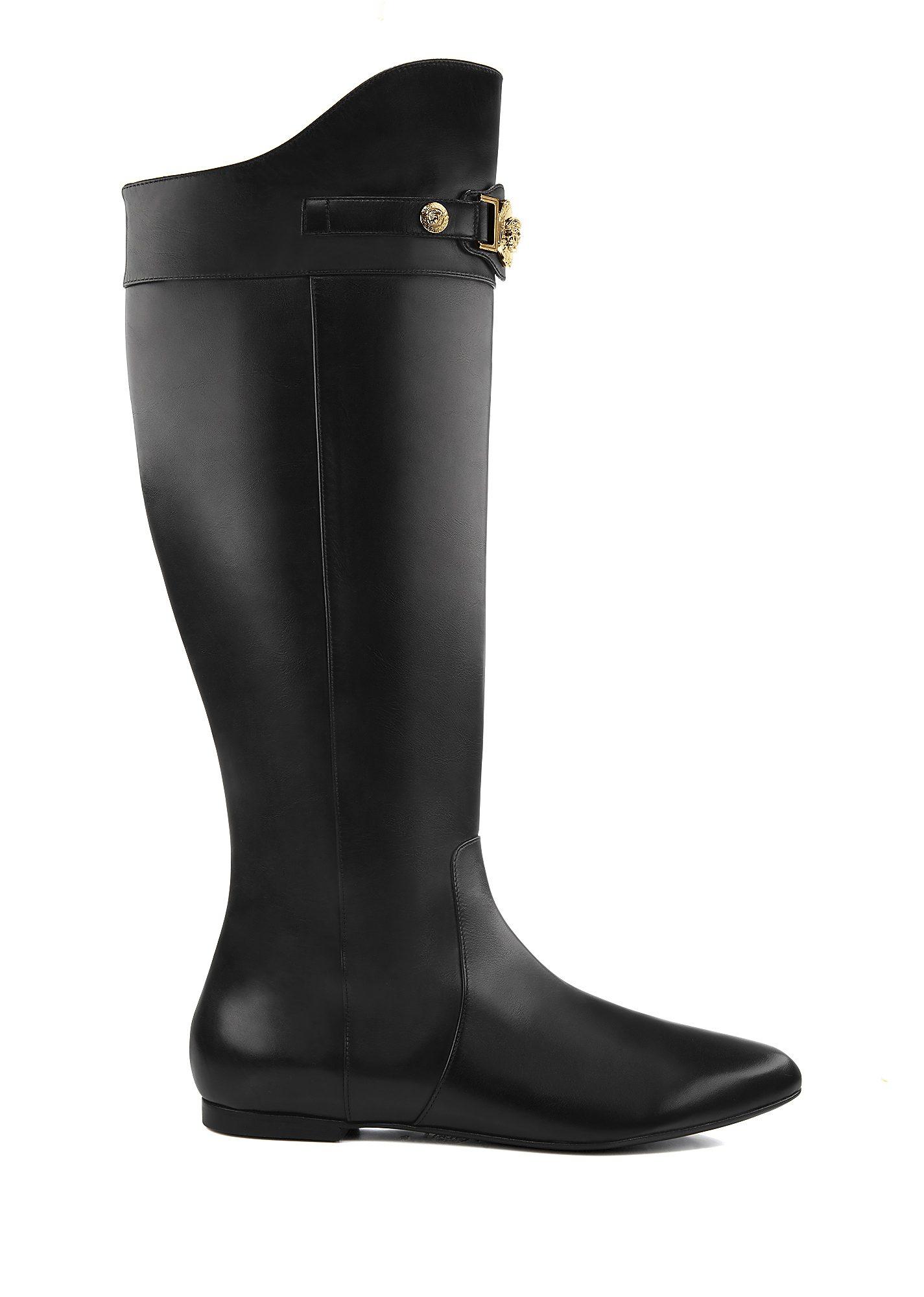 eff2e0c6b1b Versace Signature Flat Boots In Black | ModeSens