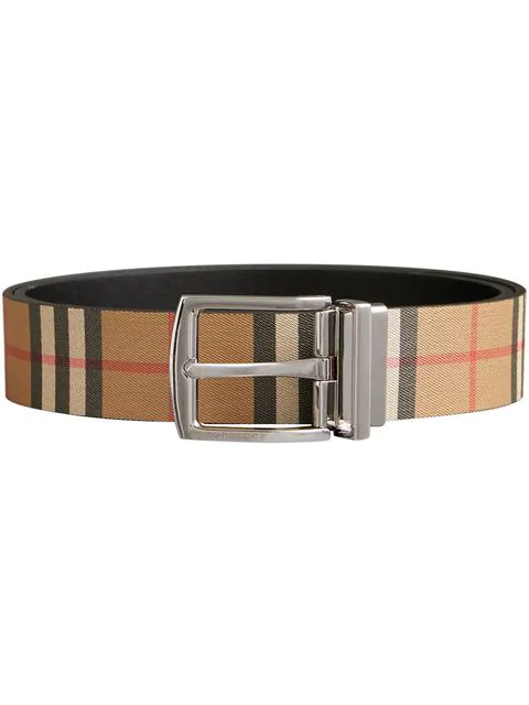 Burberry Reversible Vintage Check E-canvas And Leather Belt In 00100 Black