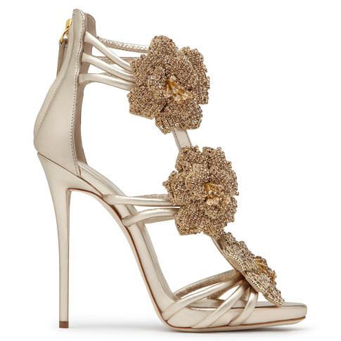 Giuseppe Zanotti - Golden Sand Leather Sandal With Flowers Rose