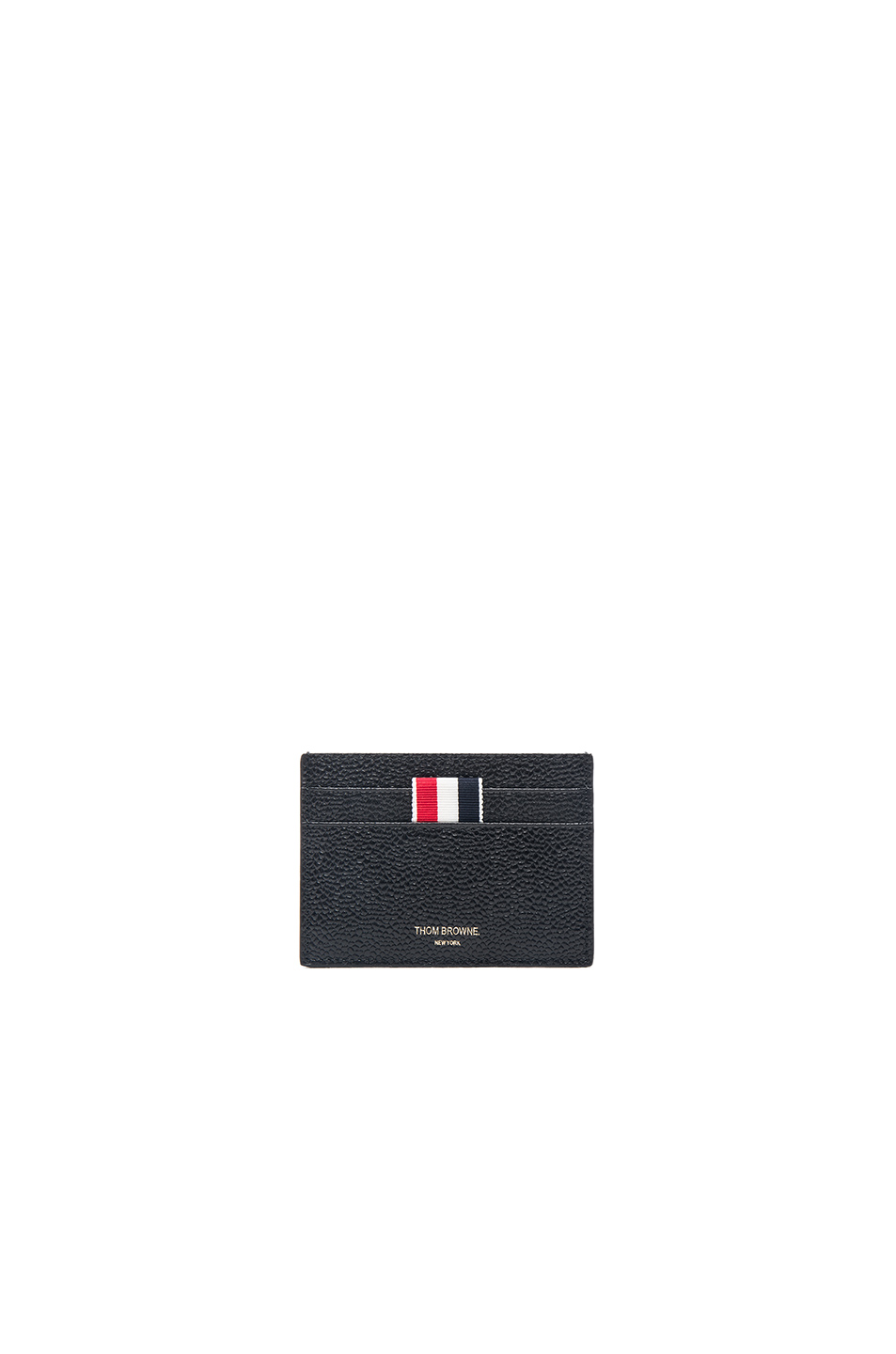 Thom Browne Striped Grosgrain-Trimmed Pebble-Grain Leather Cardholder In Black