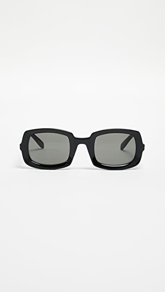 Saint Laurent Beveled Sunglasses In 001 Black Black Grey