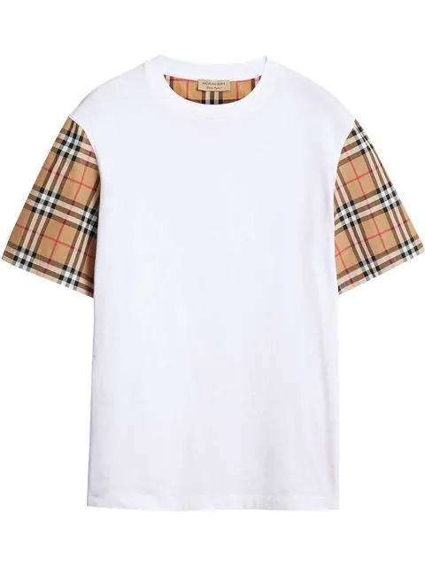 Burberry Vintage Check Sleeve Cotton Oversized T-shirt In White