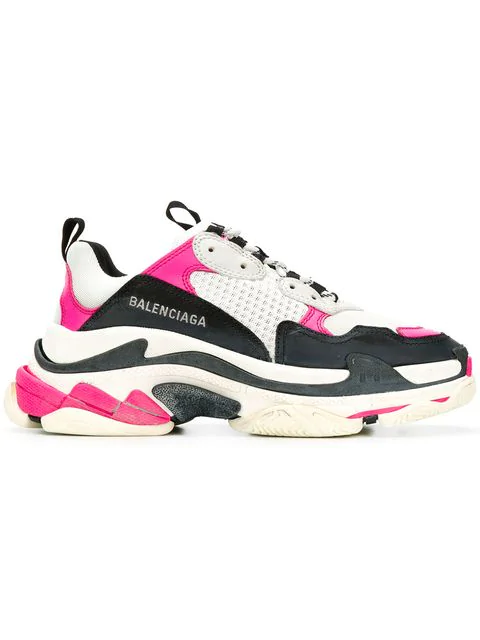 Balenciaga Triple S Logo-Embroidered Leather, Nubuck And Mesh Sneakers In Black