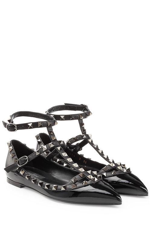 Valentino Rockstud Leather Ballerinas In Black