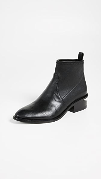 Alexander Wang Kori Strech Low Heels Ankle Boots In Black Leather And Fabric