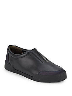 A.w.a.k.e. Morgan Leather Sneakers In Black - Navy