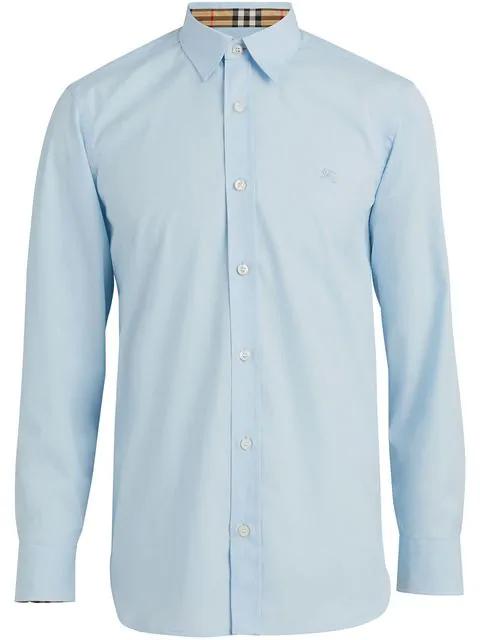 Burberry Slim Cotton Poplin Shirt W/ Check Detail In Blue