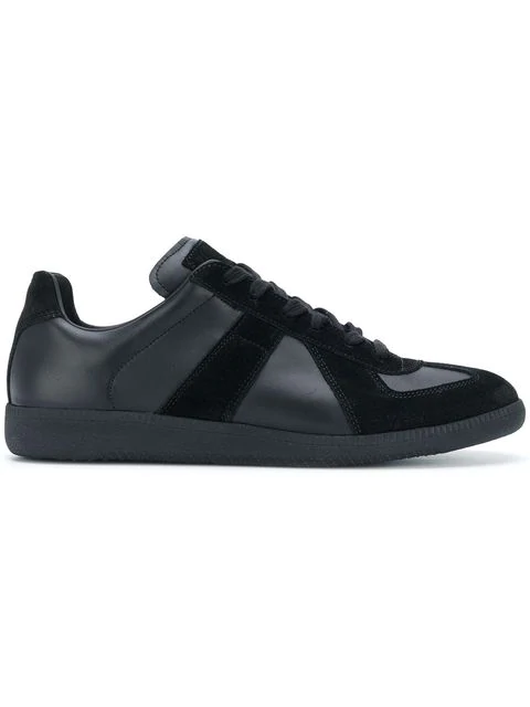 Maison Margiela Replica Sneakers In Black Leather And Suede