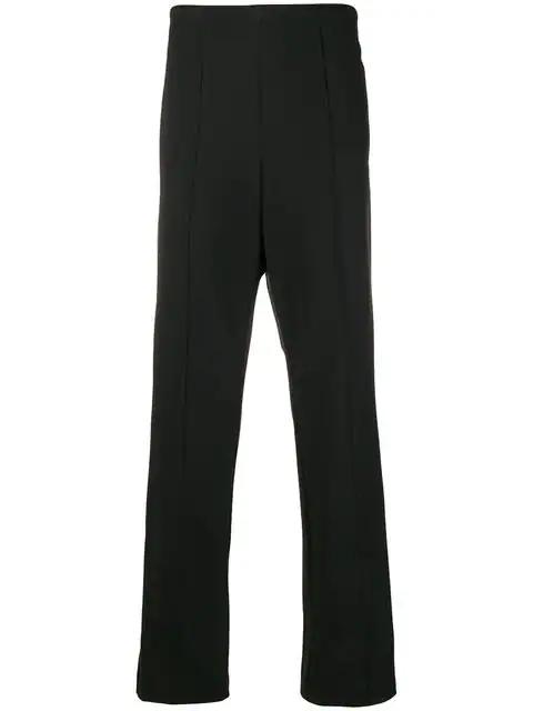 Maison Margiela Side-stripe Fitted Trousers Beige In 900 Black