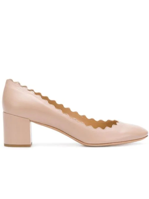 ChloÉ Women's Lauren Scalloped Block-heel Pumps In Neutral