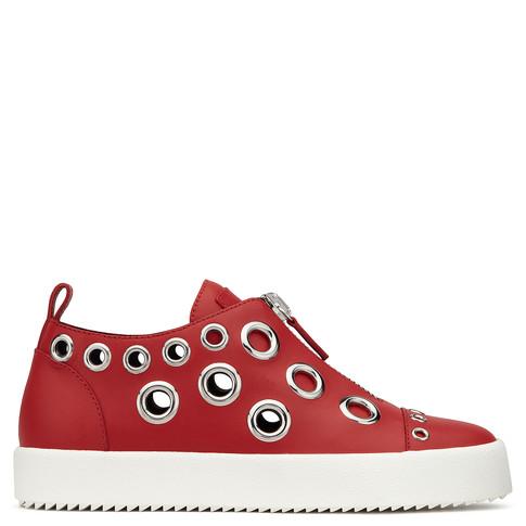 Giuseppe Zanotti - Red Calfskin Slip-on Sneaker With Metal Rings Franz