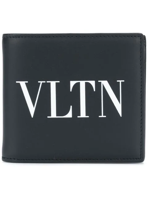 Valentino Vltn Logo-Print Bi-Fold Leather Wallet In Black & White