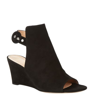 Gianvito Rossi Suede Peep-toe Ankle-wrap Wedge, Black In Nero