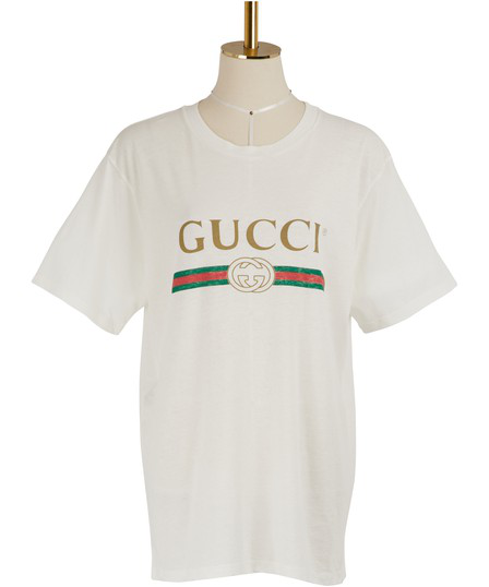 Gucci Women's Faded Logo Floral Embroidered T-Shirt In White