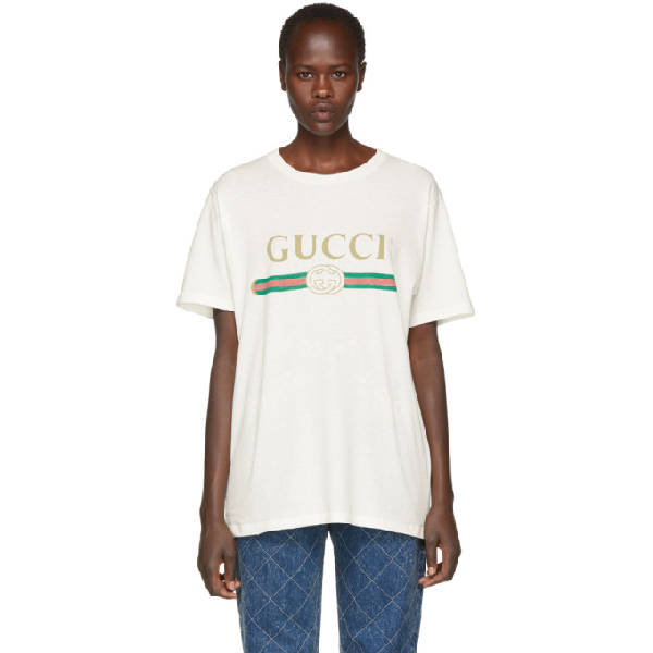 Gucci Women's Faded Logo Floral Embroidered T-Shirt In White In Ivory