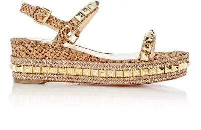 b8d5dfbd8bf6 Christian Louboutin Cataclou 60 Embellished Patent-Leather Wedge Espadrille  Sandals In Gold