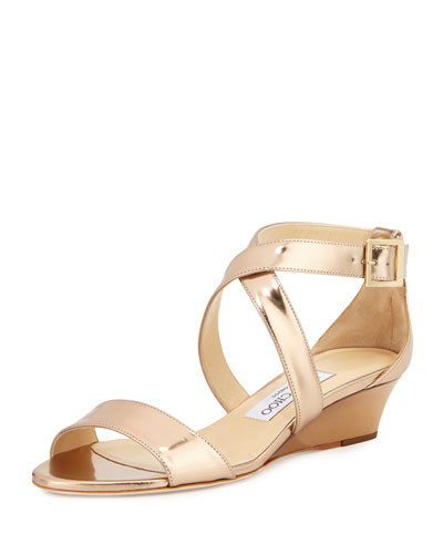 6263c0509716 Jimmy Choo Nude Patent Leather   39 Chiara  39  Wedge Sandals ...
