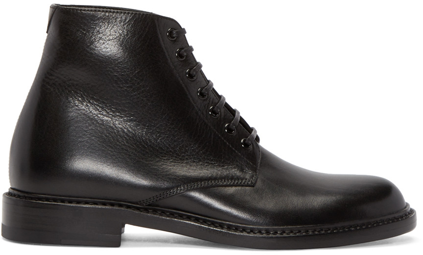 Saint Laurent Black Leather Minimal Combat Boots